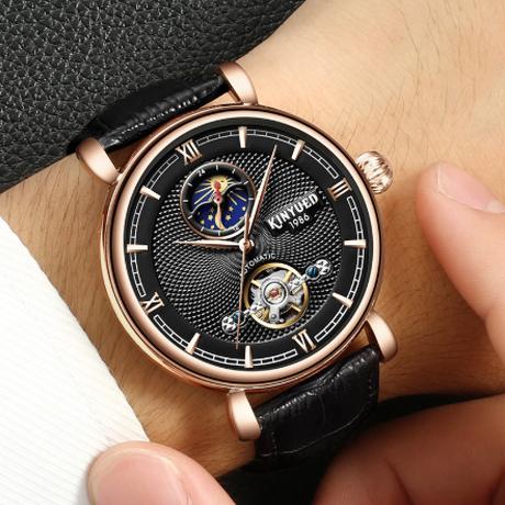 【KINYUED】 海外高級ブランド ムーンフェイズ トゥールビヨン 自動巻き 機械式 防水 メンズ腕時計 スケルトン レザーバンド スタイリッシュ 【選べる2色】