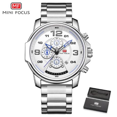【MINIFOCUS】 メンズ腕時計 クロノグラフ 日付表示 防水 ステンレスベルト クォーツ 海外トップブランド 高級 スポーツ 4色から選択可能