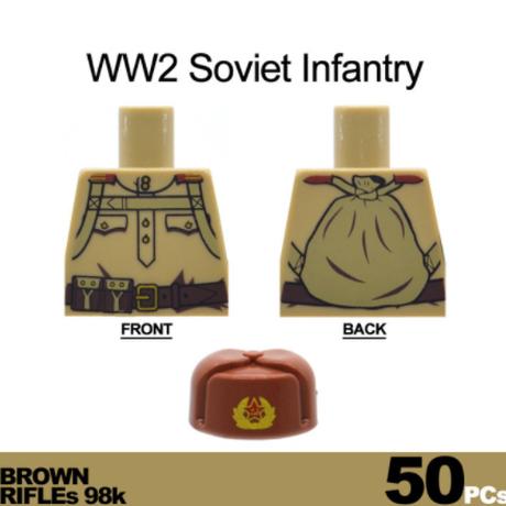 【レゴ互換】 ソビエト軍(ソ連) 兵士 ミニフィグ 大量50体(冬服)+武器セット 【軍隊】