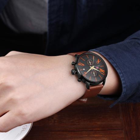 MINIFOCUS メンズ腕時計 スポーツ ミリタリー 海外高級ブランド 防水 クロノグラフ レザーストラップ クォーツ