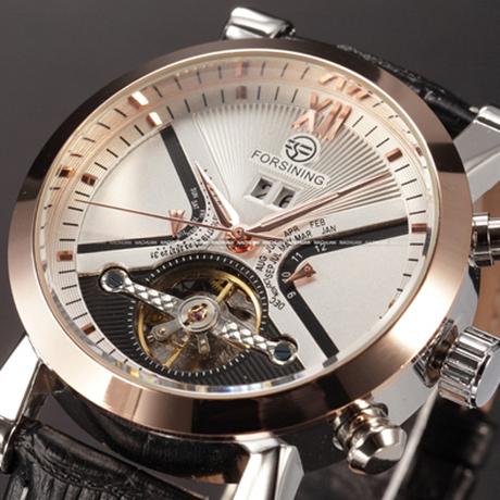【トゥールビヨン】 FORSINING スケルトン メンズ腕時計 自動巻き 機械式 本革ベルト クラシック 日付表示 海外トップブランド 高級 選べる3色