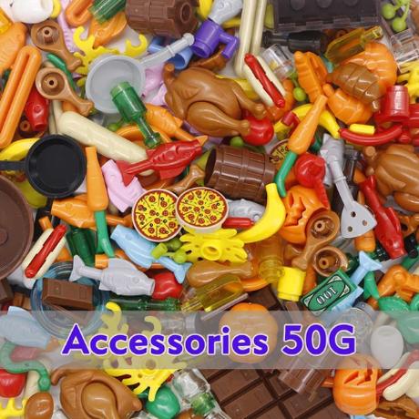 レゴ互換 アクセサリー セット パーツ 50g 食品 料理 野菜 フルーツ 果物 チキン ピザ ホットドック カニ カラフル ブロックセット LEGO風
