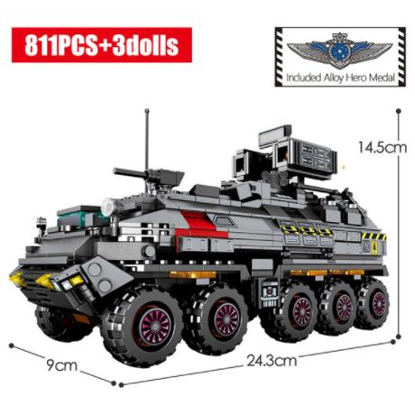 【レゴ互換】 軍事トラック 輸送 貨物バン ミニフィグ3体付き ミリタリー ブロックセット 【LEGO風】