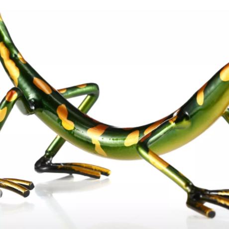 【Tooarts】ヤモリ ワインホルダー 緑 金属製 超かわいい ボトルラック 【メタル】