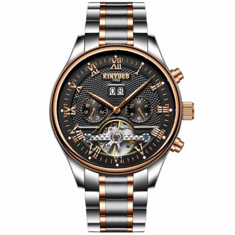 KINYUED 海外高級ブランド メンズ腕時計 機械式 自動巻き スケルトン 3気圧防水 日付表示 ステンレスバンド