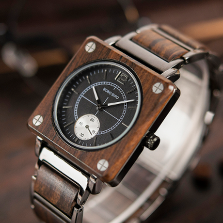 BOBO BIRD スクエアウォッチ 高級 海外ブランド 木製腕時計 ユニセックス メンズ レディース 高品質クォーツ 渋さが光る★