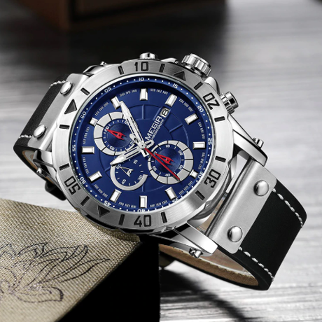 【MEGIR】メンズ腕時計 3気圧防水 クロノグラフ レザーバンド 日付表示 クォーツ ミリタリー ルミナスハンズ 海外トップブランド かっこいい 3色あり