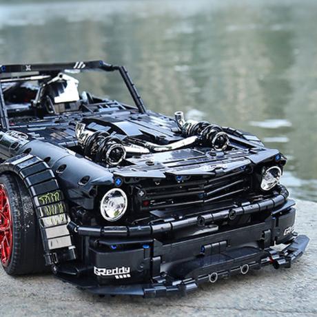 レゴテクニック マスタング 互換 スポーツカー LEGO風 車 ブロックセット ブラック