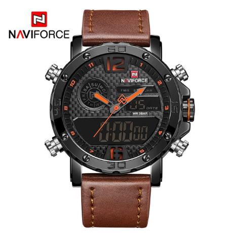 NAVIFORCE 腕時計 メンズ 海外高級ブランド デュアルタイム アラーム機能 クロノグラフ 防水 3気圧 発光 日付 曜日表示 クォーツ レザーバンド