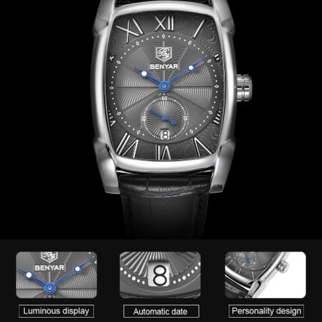 【海外高級ブランド】 BENYAR 長方形 本革バンド メンズ腕時計 防水 日付表示 四角 クォーツ カジュアル 【選べる3色】