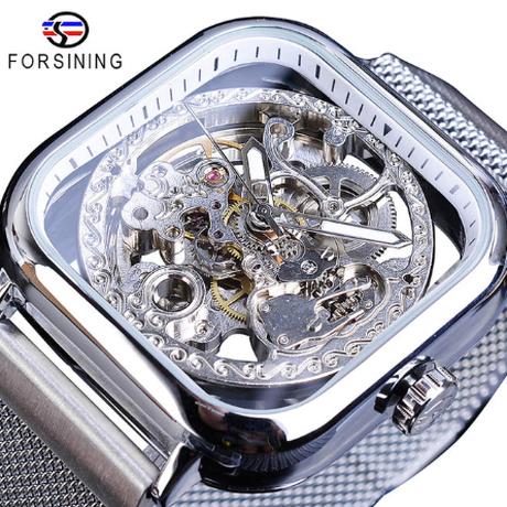 FORSINING メンズ腕時計 スクエア スケルトン 自動巻き 機械式 スクエア 発光 海外トップブランド 選べる6色
