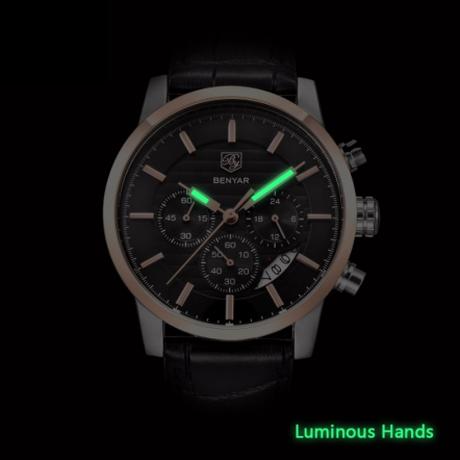 BENYAR メンズ腕時計 防水 革ベルト 人気モデル クロノグラフ 日付表示 クォーツ ミリタリー 海外高級ブランド 選べる2色