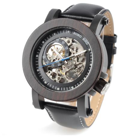 BOBO BIRD ボボバード スケルトン 木製腕時計 メンズ 自動巻き 機械式 スチームパンク ヴィンテージ アンティーク 革ベルト 時計 海外トップブランド 黒 渋くてかっこいい K10