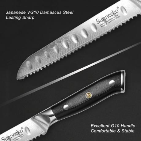 Sunnecko 8インチ パン切り包丁 プロ用 パン切りナイフ パンスライスカッター スライサー ダマスカス VG10