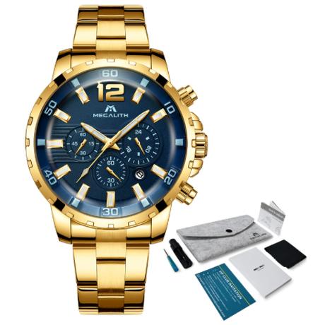 【高級】 MEGALITH カジュアル メンズ腕時計 高級 ステンレスバンド 防水 クォーツ 海外トップブランド 【ゴールド】