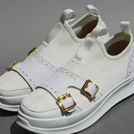 knitted double monk WHITE