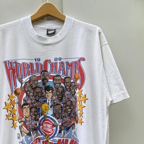 SALEM MLB PISTONS/セーラム デトロイトピストンズ ワールドチャンピオンTシャツ 89年 Made In USA (USED)