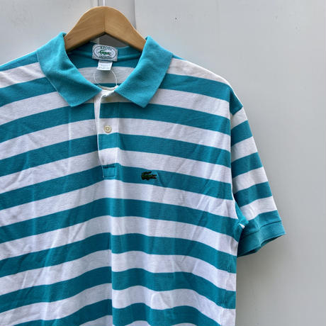 LACOSTE/ラコステ 鹿の子ボーダーポロシャツ 90年前後 Made In USA (USED)
