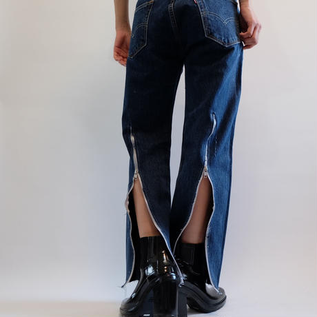 SELENAHELIOS    LONG ZIP DENIM  PANTS