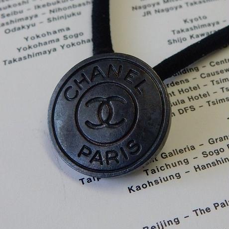 ヴィンテージ CHANEL シャネル ココマーク 18mm ブラックメタルボタン ヘアゴムのおまけ付(c-36)