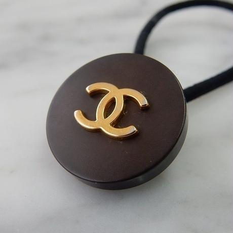 ヴィンテージ CHANEL シャネル ボタン ココマーク 22mm ブラウン×ゴールド ヘアゴムのおまけ付(c-44)