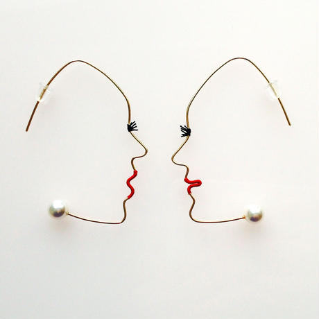 14KGF wire earring/14KGFワイヤーピアス 横顔(ペア)×パール