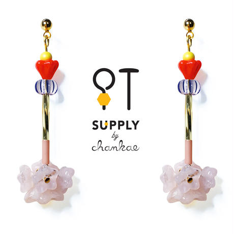 Jewelry kit アクセサリー制作キット/二種類の花型ビーズピアス(イヤリング変更可)