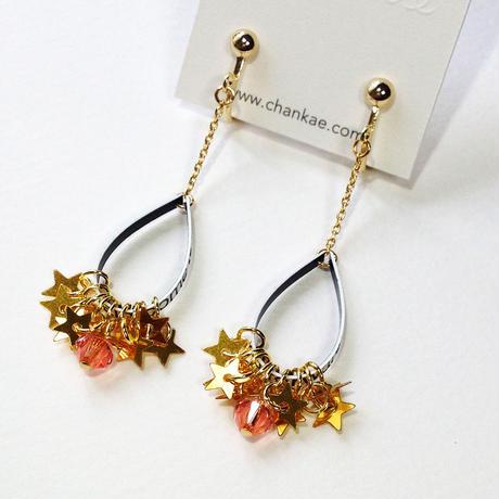 Metrocard earrings メトロカードイヤリング/金星形スパンコール×ローズピーチ