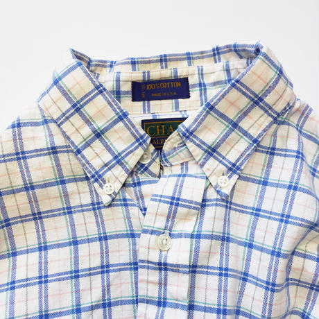 Made in USA/90's CHAPS/One Point Check Shirts/White×Blue/Used