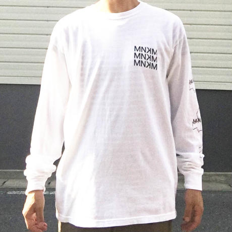 【UNISEX】 MNKM×CHARGIE 別注Regular MNKM Long sleeve T-shirt(ホワイト)コラボ ロンT ミノカモ チャージー