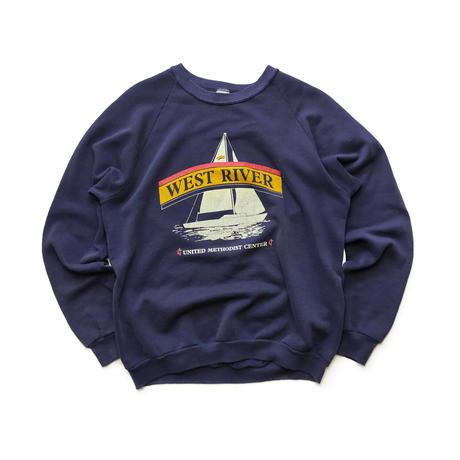 90's JERZEES WEST RIVER RAGLAN CREW NECK/Navy/Used