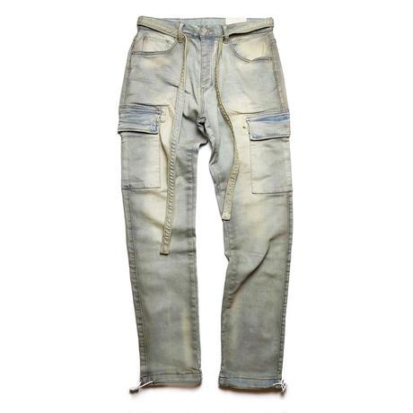 mnml(ミニマル)DENIM CARGO PANTS BLUE ストレッチ カーゴ デニム パンツ