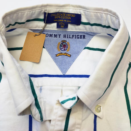 Made in USA/90's Tommy Hilfiger/B.D Stripe Shirts/Navy×Green/Used