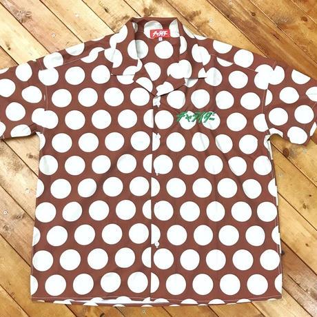 スタンダードロゴ刺繍ドットシャツ ブラウン