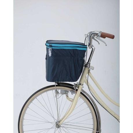 2段式自転車前カゴカバー 伸縮ゴム入り 両開き ネイビー×ブルー 245NV-BL