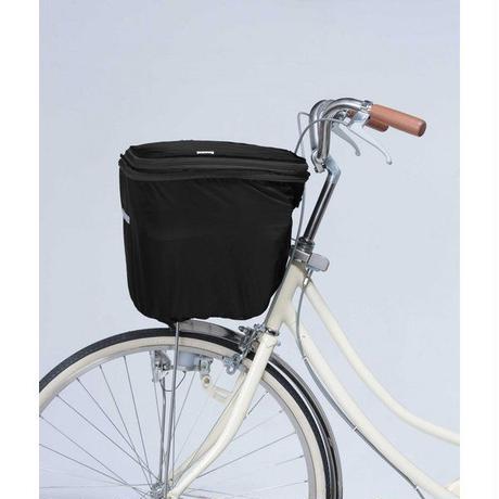 2段式自転車前カゴカバー オールブラック  ワイドかご対応   撥水防水 川住製作所 770BK