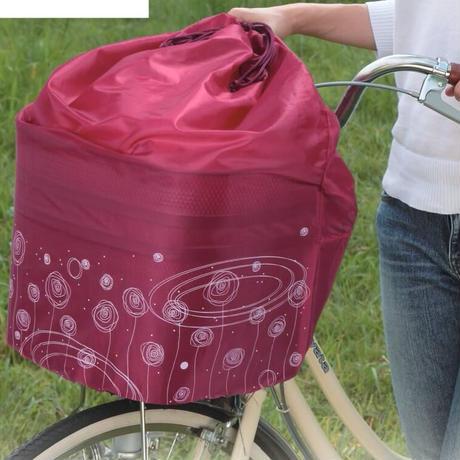 自転車前カゴカバー きんちゃく 巾着タイプ かわいい ローズ柄  川住製作所 218R
