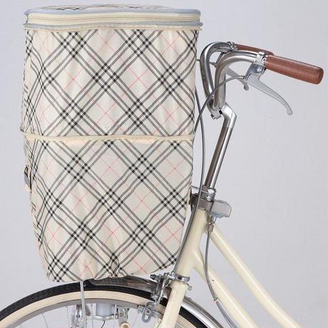 2段式自転車前カゴカバー ポケット付き 反射帯付き ベージュチェック 258F