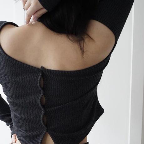 asymmetry Rib knit  [gray]