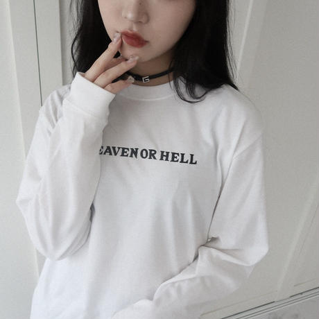 Heaven or Hell long T-shirt  [white]