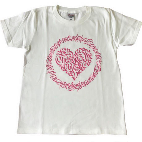 LEX x CheeRing School コラボレーションTシャツ グレーxピンクーロゴ
