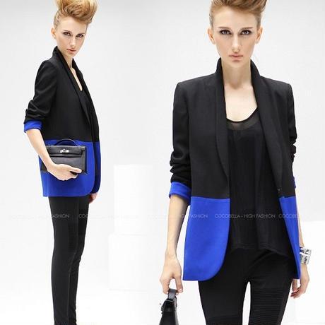 海外インポートセレクトブルーブラックバイカラーデザインジャケットコート黒青色