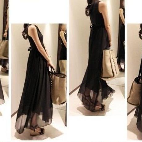 海外インポートブラックシースルーデザインシフォンマキシワンピースドレス黒