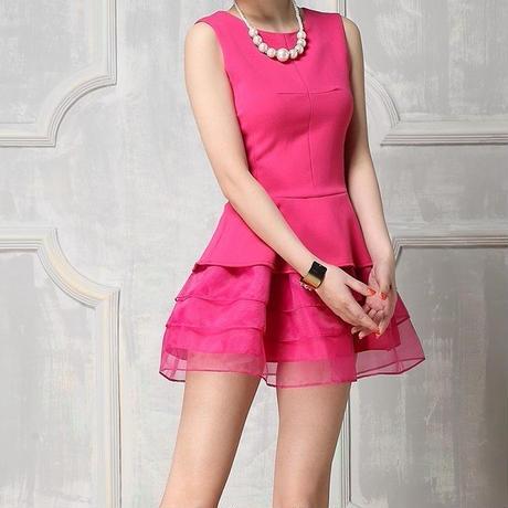 海外インポートショッキングピンクオーガンジーチュールミニワンピースドレス