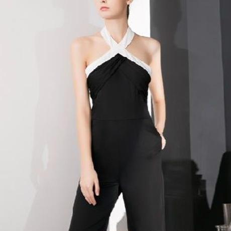 海外インポートセレクトブラックホワイトバイカラーオールインワンジャンプスーツ白黒色