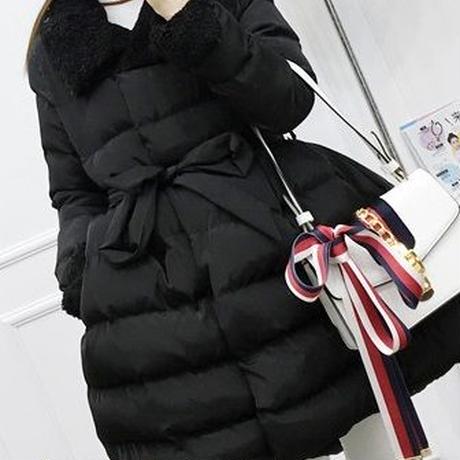 レディース ブラック インナー ボア 付き フレア ダウン ジャケット コート 黒