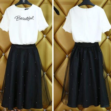 海外インポートセレクトホワイトTシャツトップスオーガンジーチュールパール付ミディミモレ丈セットアップワンピースドレス
