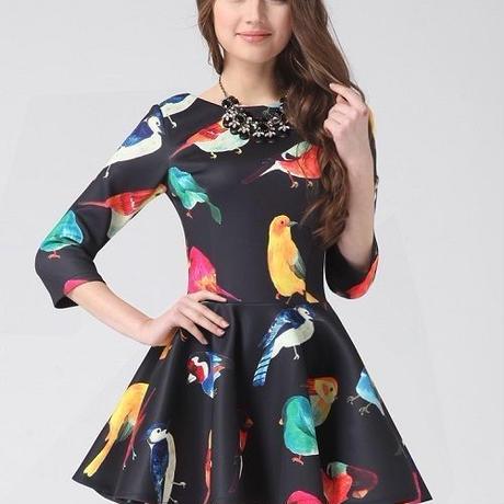 海外インポートブラックバード柄フレアワンピースドレス黒