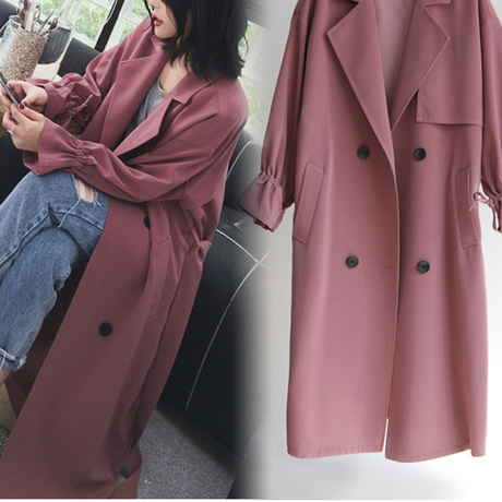 海外 インポート ダスティー ピンク カラー スプリング トレンチ ジャケット コート 腰ひも ベルト 付