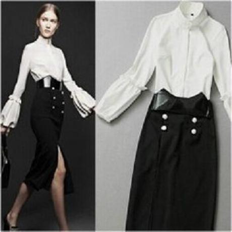 海外インポートセレクトホワイトデザインブラウス&ミディー膝丈スカートセットアップワンピース上品